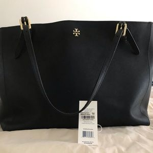 TORY BURCH Large York Black Saffiano Tote Bag